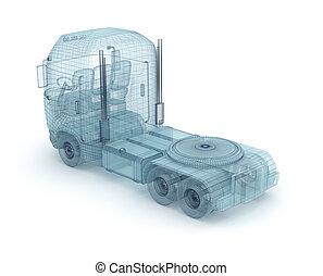 濾網, 卡車, 被隔离, 上, white., 我, 自己, 設計