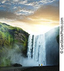 瀑布, 在, 冰島