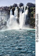 瀑布, 著名的地方, ......的, antalya, 火雞