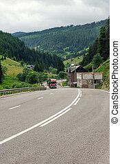 瀝青柏油路, 彎曲, 透過, 花, 小山, 在, 羅馬尼亞