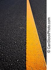 瀝青柏油路, 由于, 分開, 黃色, 線