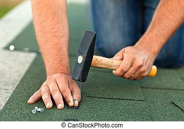 瀝青, -, 労働者, インストール, 屋根こけら板, 収穫, 手, 横