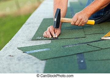 瀝青, 労働者, インストール, 屋根こけら板, 手