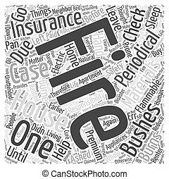 火の安全性, そして, 保険, 単語, 雲, 概念