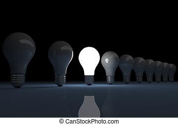 火をつけられた, 明るい, 電球, ライト