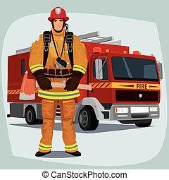 火トラック, 消防士, ∥あるいは∥, 消防士