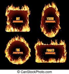 火フレーム, 暑い, 黒い背景, 炎