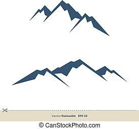 火山, テンプレート, デザイン, ベクトル, ロゴ, イラスト, 山