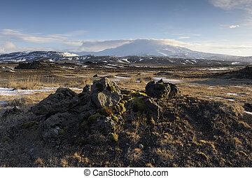 火山, 凍らせられた, hekla, バックグラウンド。, vulcan, 風景, 光景