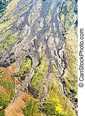 火山, 航空写真, 溶岩, tungurahua, 火山, 打撃