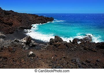 火山, la, 海岸, 大西洋, 黑色, palma