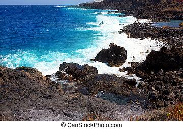 火山, la, 海岸, cruz, 大西洋, santa, palma