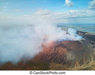 火山, masaya, 来なさい, 蒸気