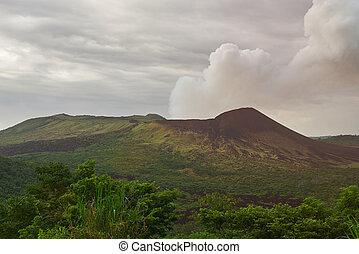 火山, masaya, 煙, 到来