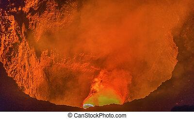 火山, masaya, nicaragua., グラナダ