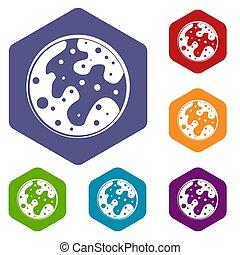 火星, 六角形, アイコン, セット