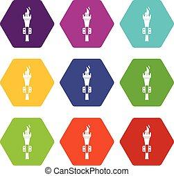 火炬, 圖象, 集合, 顏色, hexahedron
