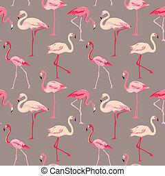 火烈鳥, 鳥, 背景, -, retro, seamless, 圖案