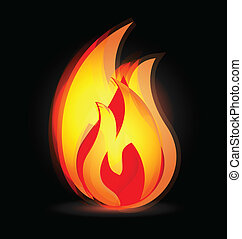 火焰, 在, 生動, 顏色, 標識語