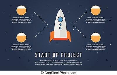 火箭, 事務, 向上, 項目, 開始, infographic