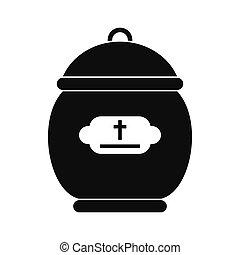 火葬, 壷, 黒, アイコン