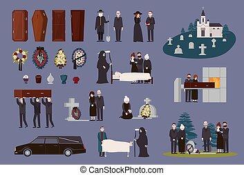 火葬, 式, 墓, 嘆くこと, 壷, ベクトル, 墓地, 葬式, procedures., 霊きゅう車, 人々, サービス, 黒, 棺, illustration., collection., 葬儀の, 悲しむこと, 衣服, 埋葬, 服を着せられる