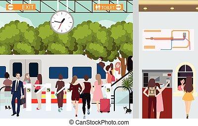 火車站, 忙, 場景, 人在, 突進, 等待, 在, 門, 城市, 通勤者, 購買, 票