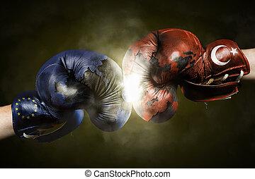 火雞, 拳擊, 政治, 良好, 手套, 在之間,  symbolized, 危機