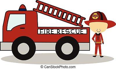 火, いたずら書き, 消防士, 救出