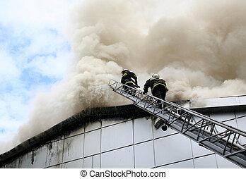 火, の間, 消防士, ブーム, citycentre