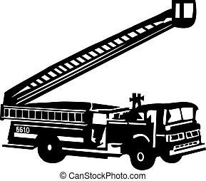 火, はしご, トラック