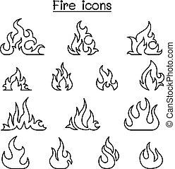 火, アイコン, セット, 中に, 薄いライン, スタイル