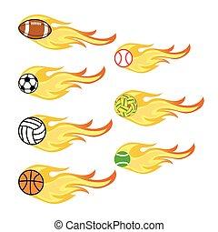 火, アイコン, ボール, ベクトル, スポーツ