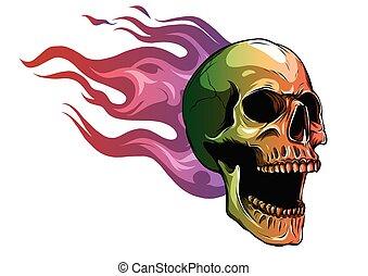 火, イラスト, ベクトル, 炎, 頭骨