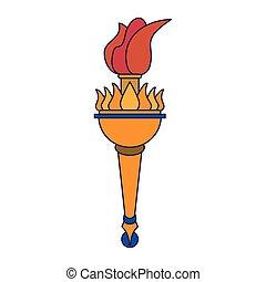火, オリンピック, トーチ, 炎, 漫画