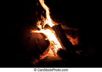 火, キャンプ, 細部