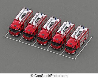 火, グループ, トラック, 駐車