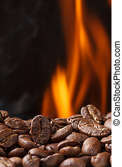 火, コーヒー豆, 焼けている, 煙