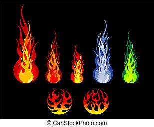 火, シルエット, 炎