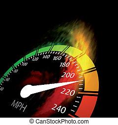 火, スピード, 速度計, 道
