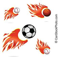 火, スポーツ, ハエ, ボール, セット, 創造的