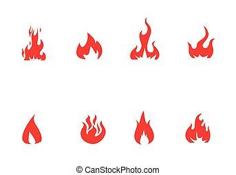 火, セット, ベクトル, アイコン