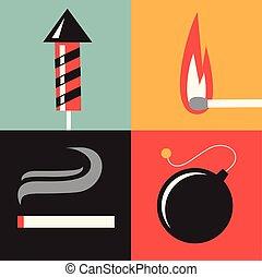 火, セット, ベクトル, イラスト, アイコン