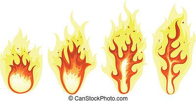 火, セット, 燃焼, 炎, 漫画