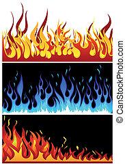 火, セット, 背景