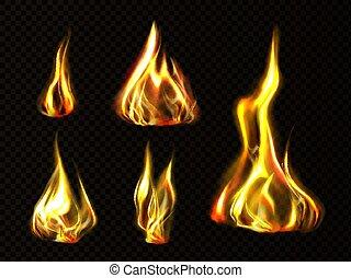 火, セット, 隔離された, 炎, 現実的, トーチ, クリップアート