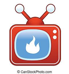 火, テレビ, レトロ, アイコン