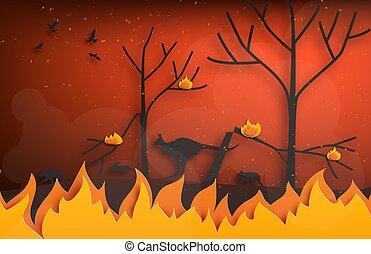 火, デジタル, 動物, 技能, 野生, 逃げること, art., style., 火, 切口, シルエット, ペーパー, 森林