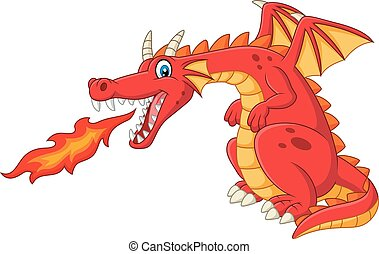 火, ドラゴン, 漫画, 分散, 赤