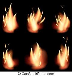 火, バックグラウンド。, セット, 炎, 黒